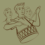 Drummer boy. Young soviet drummer on parade  illustration Royalty Free Stock Photos