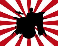 Drummer Burst. Black silhouette of a drummer on a red and white background Royalty Free Stock Images