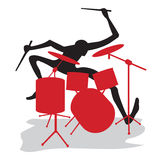 Drummer. A drummer carries out a solo on drums Stock Photos