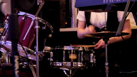 Drummer at a concert flare move stock video footage