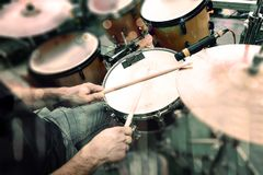 Music band and live music background. Drummer in concert playing drums in stage stock photo