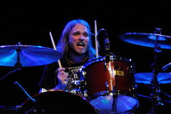 Drummer of Dinero band performs at Sant Jordi Club Royalty Free Stock Photo