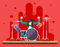 Drummer Drum Icons Set Hard Rock Heavy Folk Music Background Concept Flat Design Vector Illustration Stock Photos