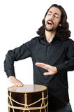 Drummer with drum playing Stock Photos