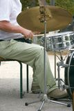 Drummer at drum set. Close up of drummer at drum set Royalty Free Stock Image