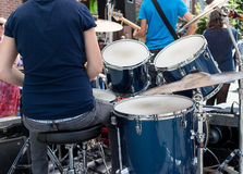 Drummer drumming at outdoor fest Royalty Free Stock Photo