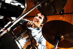 Drummer in drums Stock Image
