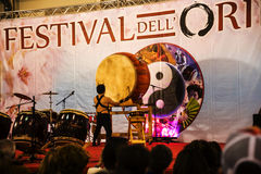 Drummer at the Festival of the Orient in Rome Italy. The Festival of the Orient was held at the Exhibition Centre near Rome Airport at Fumincino on the outskirts Stock Photography