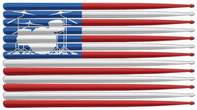 Drummer flag with drum set and drum sticks isolated vector illustration stock image