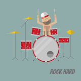 Drummer. Flat style drummer in trucker hat playing drums. EPS10 vector illustration Stock Image
