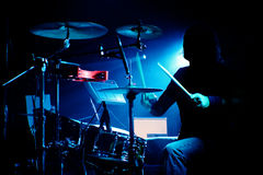 Drummer on a gig Royalty Free Stock Image