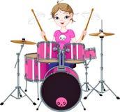 Drummer girl royalty free illustration