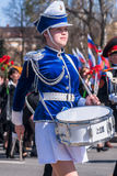 Drummer girl on Victory Day parade Royalty Free Stock Image
