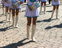 Drummer girls march on city day Royalty Free Stock Image