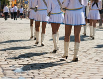 Drummer girls march on city street Royalty Free Stock Photo