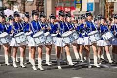 Drummer girls at the parade in Kiev, Ukraine Stock Image
