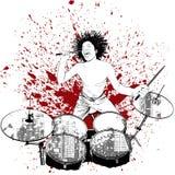 Drummer on grunge background Stock Images