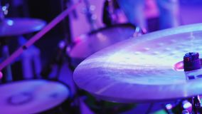 Drummer Hand Playing Drum Plate. On Rock Concert. Closeup stock video footage