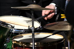 Drummer hands. In action during a concert royalty free stock photos
