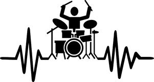 Drummer heartbeat line with drummer silhouette. Heartbeat pulse line drummer with drummer silhouette Royalty Free Stock Image