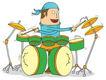 Drummer. Illustration of a drummer cartoon Stock Image