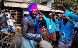 Drummer In Kallazhi Temple Festival Stock Images
