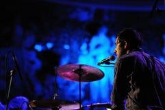 Drummer of Joanna Newsom (band) performs at Palau de la Musica Catalana Royalty Free Stock Photo