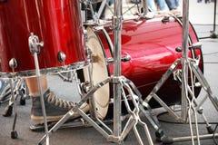 Drummer on kick drum Stock Images