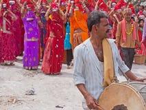 Drummer Leading Gangaur Procession Royalty Free Stock Photos