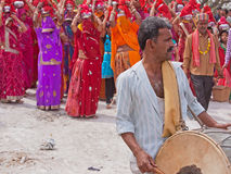 Drummer Leading Gangaur Procession Royalty Free Stock Photos
