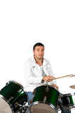 Drummer man. Serious drummer man playing set drums isolated on white background,check also royalty free stock photos