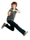 Drummer man jumping Royalty Free Stock Image