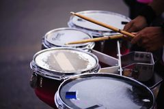 Drummer marching in Annual sports event parade.  stock image