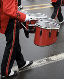 Drummer in a Marching Band. On a foggy, wet day Stock Images
