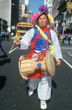 Drummer marching at the Korean Day Parade Stock Photos