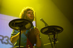 Drummer of Mazoni (band) performs at Razzmatazz stage Stock Photo