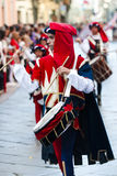 Drummer in medieval reenactment costumes Stock Photo