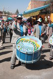 Drummer men play music at carnival in Bolivia Royalty Free Stock Photo
