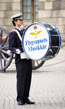 Drummer of military band in Stockholm Stock Photography