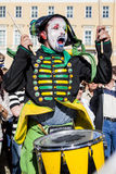 Drummer mime on the holiday in St.Petersburg Royalty Free Stock Photo