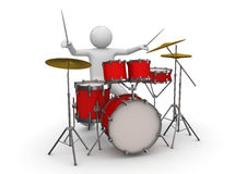 Drummer - Music. 3d characters isolated on white background series Royalty Free Stock Photos