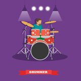 Drummer musician playing drums. Vector illustration in flat style design Royalty Free Stock Photos