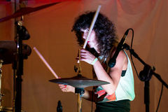 The drummer of Nina Coyote Eta Chico Tornado band performs at Tibidabo Live Festival Royalty Free Stock Photography