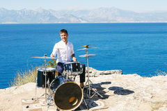 Drummer Outdoors Royalty Free Stock Images