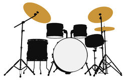 Drummer  outline silhouette Royalty Free Stock Photo