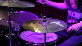 Drummer perform at a concert stock footage