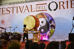 Drummer performing at the Festival of the Orient in Rome Italy Stock Image