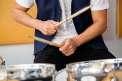 Drummer Performing In Recording Studio Royalty Free Stock Photos
