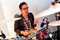 Drummer performing during Swarovski show at Audi Fashion Festival 2012 Stock Photography