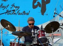 Drummer Performs at Rock Festival Royalty Free Stock Photo